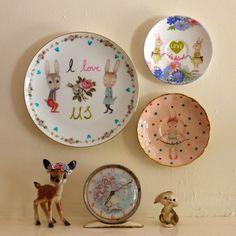 I Love Us Bunnies Vintage Illustrated Plate