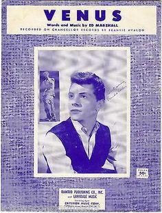 VENUS FRANKIE AVALON 1950s SHEET MUSIC - ED MARSHALL