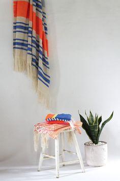 Living Coral: Artisan Project Moroccan Large Towel with Blue & Orange Stripe – Tigmi Trading