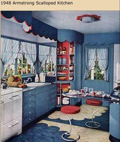 Retro mid-century kitchen 1948 Armstrong