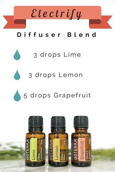 """This """"Electrify"""" blend is the perfect diffuser blend to use during the week back from Spring Break. It's invigorating aroma will give you the boost that you need to get your work done! 