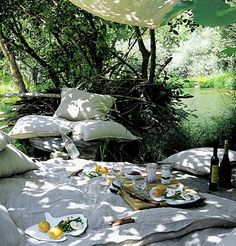 Breakfast outside, picnic style ☼ Got to love being with nature!