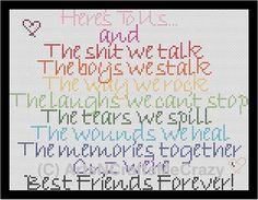 Best Friends Forever Toast Cross Stitch by ArtsNCraftsMeCrazy