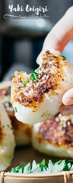 Miso Yaki Onigiri are delicious grilled rice balls coated in a tasty Miso Butter Sauce that are simple, and easy to eat on the go for lunch or a snack! Sushi Comida, Yaki Onigiri, Miso Recipe, Butter Sauce, Onigirazu, Vegetarian Recipes, Cooking Recipes, Japanese Dishes, Gastronomia