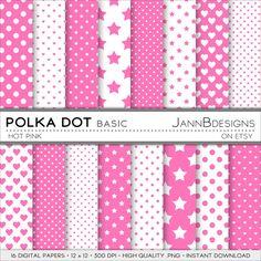 SALE 80% off Hot Pink POLKA DOT Digital Paper by JAnnBdesigns