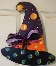 Witch's Hat Door Hanger | Etsy Hat Hanger, Door Hangers, Home Organization, Craft Supplies, Dinosaur Stuffed Animal, Witch, Super Cute, Craft Ideas, Doors