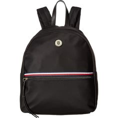 Tommy Hilfiger Corinne II Dome Backpack (Black) Backpack Bags ($60) ❤ liked on Polyvore featuring bags, backpacks, black, strap backpack, tommy hilfiger backpack, rucksack bags, daypack bag and fake bags