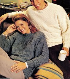 HIS & HERS ARAN TEXTURED PATTERN CABLE JUMPER 80-105CMS 12 PLY KNITTING PATTERN