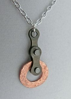 pendant bike chain hammered copper circle by WanderingJeweler, $20.00