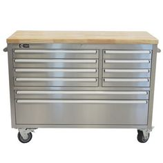 "TRINITY 48"" Stainless Steel Rolling Workbench - want this in my closet to lock costume jewelry away, etc."