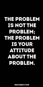#inspiration #quote / THE PROBLEM IS NOT THE PROBLEM: THE PROBLEM IS YOUR ATTITUDE ABOUT THE PROBLEM.