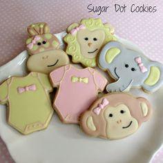 Jungle Animal Cookies~ Sugar Dot Cookies, Grey Elephant, monkey, pink, Yellow, Onesie, giraffe, lion, monkey
