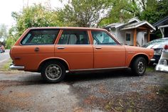 """Halloween machine, wagon version. (1971 Datsun 510 Wagon from the site """"oldparkedcars.com""""!)"""