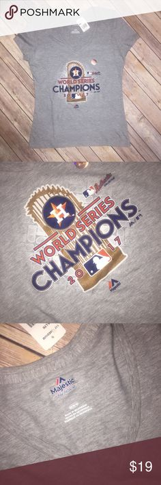 Houston Astros World Series Champions Shirt Medium NWT Medium Womens fit. Slim fit.  Houston Astros World Series  Locker Room Shirt  Gray 100% cotton.  Rose gold print.   Majestic brand. MLB Licensed product. Majestic Tops Tees - Short Sleeve