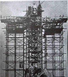 Christ the Redeemer under construction in Rio de Janeiro, Brazil.