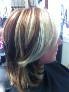 Blonde and Red Highlights and Lowlights