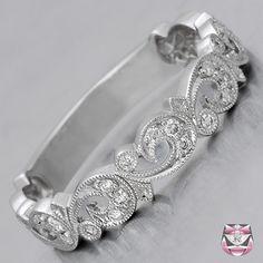 Scrolled Diamond Wedding Band