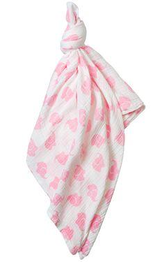 Le Top Baby 'Elephant Parade' Pink Muslin Gauze Swaddle