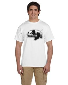 Unisex Panda bear relaxing t shirt print  panda t by CTapparel