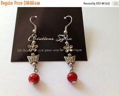 Red Earrings Long red earrings Mode earrings by CreationsSylsa