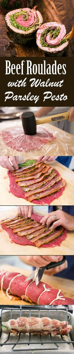 Beef Roulades with Walnut Parsley Pesto ~ Flank steak pounded and stuffed with pesto, wrapped in bacon, rolled into a roulade or pinwheel and roasted. Perfect for holiday entertaining! On SimplyRecipes.com