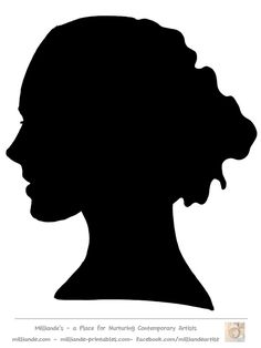 Face Silhouette Woman Stencil Template at www.milliande-printables.com/female-face-silhouette-stencil.html , Free to print and download