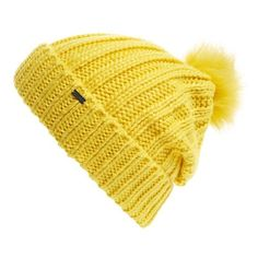 Women's Maison Scotch Faux Fur Pom Beanie ($45) ❤ liked on Polyvore featuring accessories, hats, carnaby yellow, yellow hat, slouch hat, pompom hat, slouch beanie hats and yellow beanie hat