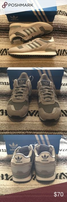 New Adidas ZX700 W Beautiful grey suede, black & white patterned center, grey thin laces. New with box. Freaking adorable! Bundle to save. Adidas Shoes Sneakers