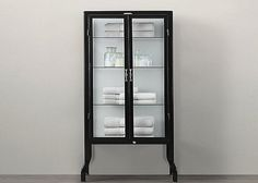 Glass pharmacy cabinet with metal frame