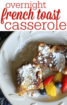 This french toast casserole takes about 5 minutes to throw together and will taste like you spent hours slaving over the stove!  Prepare it the night before, refrigerate, and pop it in the oven in the morning!