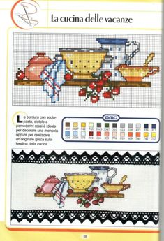 This Pin was discovered by Han Cross Stitch Fruit, Cross Stitch Kitchen, Cross Stitch Love, Cross Stitch Needles, Cross Stitch Borders, Cross Stitch Charts, Cross Stitching, Cross Stitch Embroidery, Cross Stitch Patterns