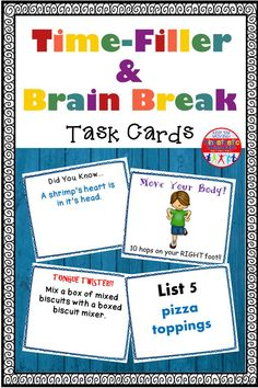 "Here is a set of 204+ cards meant to use for quick brain breaks, and/or as time fillers. Just shuffle the cards, pick one and do what it says. There are trivia cards, tongue twisters, list cards, exercise cards, and, ""you choose"" exercise cards. Kinesthetic Learning, Card Workout, Tongue Twisters, Kids Moves, Review Games, Move Your Body, Brain Breaks, Educational Activities, Pick One"