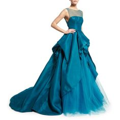 Monique Lhuillier Illusion Strapless Ball Gown W/Rosettes ($7,690) ❤ liked on Polyvore featuring dresses, gowns, teal, floor length evening gown, blue strapless dress, blue evening gown, monique lhuillier gown and strapless dress