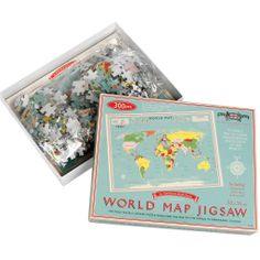 Puzzel met vintage wereldkaart. 300 stukjes. Leer op een leuke manier hoe de wereld in elkaar zit, en laat je leiden door het bijgevoegde kl...