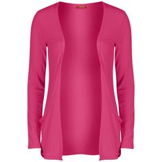 Influence Women's Jersey Long Sleeve Cardigan ($9.73) ❤ liked on Polyvore featuring tops, cardigans, sweaters, jackets, outerwear, hot pink, long sleeve cardigan, long sleeve tops, low top and long sleeve jersey