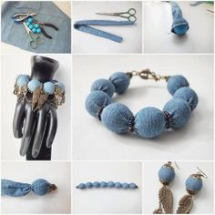 DIY : Denim Wrapped Beads Bracelet