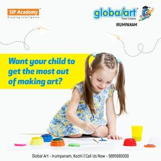 Want your child to get the most out of making art? Bring them to the world of imagination. Let them create in their own way. Join Globalart Irumpanam now. Limited Seats Only. Call us for more details: 98956 60000 Bring It On, Let It Be, Kochi, Global Art, Make Art, Want You, Imagination, Creativity, Join