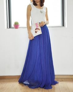 Or this one...  Chiffon Long Skirt Silk Skirts High Waist Maxi by Dressbeautiful
