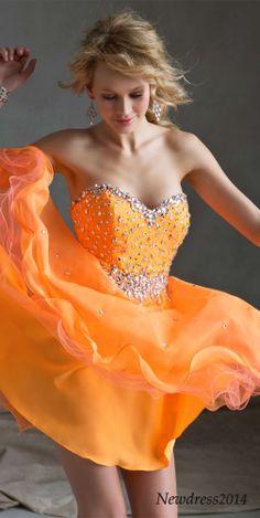 short orange prom dress, prom dresses
