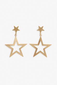 Monki Double star earrings in Gold