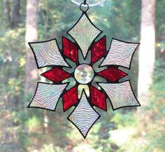 Stained Glass Suncatcher Star Snowflake with Textured Clear