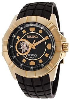 Seiko Premier collection - Automatic black dial watch for men - stainless steel, gold tone - Best Seiko Watches for Men.