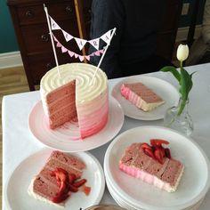 Ombre strawberry layer cake
