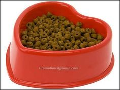 heart red dog bowl