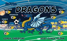 Dragons-44659  digitally printed vinyl soccer sports team banner. Made in the USA and shipped fast by BannersUSA. www.bannersusa.com