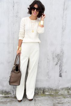 Gold accents make a simple white outfit look tasteful and elegant