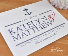 Wedding - Save the Date  - Nautical Anchor - Navy Blue & Red. $1.25, via Etsy.