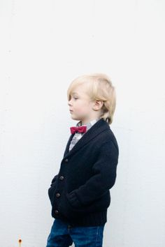 Hand painted Children's Clip-on Bow Tie--Cranberry and Metallic Blue