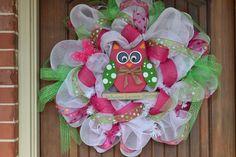 Whoo Loves Spring Deco Mesh Wreath. $82.00, via Etsy.