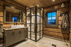 33 Awesome Rustic Style Winter Bathroom Decoration Ideas - Now that there is a slight chill in air and winter is well on its way, this would be a good time to start preparing the bathroom for that long cold se. Metal Windows, External Doors, Steel Doors, Window Design, Double Doors, Rustic Style, Living Spaces, New Homes, House Ideas